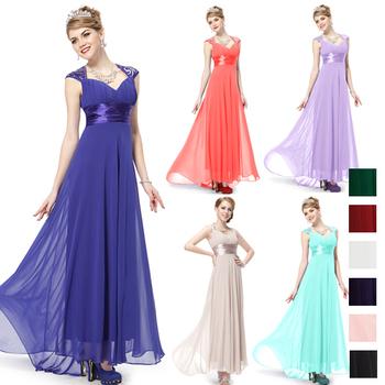 HE09672GR V Neck Зеленый Sequins Шифон Ruffles Empire Line Evening Dress