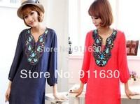 2014 New Dark Blue/Sky Blue/White/Red.High Quality Assurance women embroidered flower vintage autumn winter dress L,XL,XXL,3XL