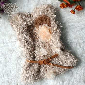 New 2014 Autumn Fashion Children Outerwear Girls Waistcoat  Faux Fur Vest Kids Clothes with Flower & Belt Wholesale 4pcs/LOT