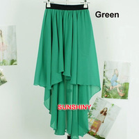 2013 NEW Women's Asymmetrical Soft Chiffon Skirt, Bohemian Princess Chiffon Pleated Maxi Dance Skirts Good Quality  AC-119