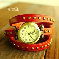 Promotion Punk Roman Number Genuine Cow Leather Watch Women ladies Fashion dress quartz wrist watch ds-1