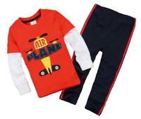 Baby Boy's Long Sleeve Sports Tee Sets Toddler's 2 pcs Suits 100% Cotton Tshirt Clothing Set, 6 Sizes - JBLS80/86/87/88/93/98
