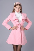 Nice quality 2014 autumn&winter fashion women wool coat Pink/Black coat wool for ladies, size M, L, XL, XXL