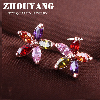ZYE007 Multicolour Wintersweet 18K Rose Gold Plated Stud Earrings Genuine  Austrian Crystal Wholesale