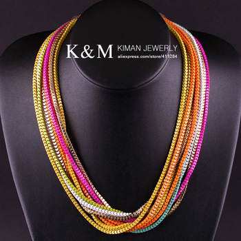New Arrival Multi-Chain Design 18K Gold Plated Enamel Chain Statement Necklace for Woman NK-00873 Free Shipping No MOQ