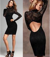 Brand Sexy Full Black Long Sleeve Lace Tunics Clubwear Dress Fashion Sheath Open Back Embroidery Knee Length Club Pencil Dresses