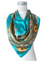 2013 Hot Sale Satin Square Silk Scarf Printed For Ladies,New Arrival Women Brand Polyester Scarves, Blue, Army Green,Yellow,Red