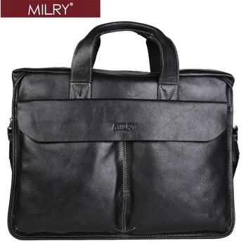 Brand MILRY 100% Genuine Leather men Briefcase Business shoulder messenger bag laptop bag for men black CP0009-1