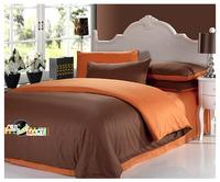 Free Shipping 4pcs Designer Cotton Contrast Color Bedding Set/ Comforter Set/ Bed Sheet Brown And Orange  Simple Fashion Modern