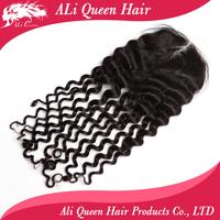 """Brazilian middle part deep wave lace closure  4"""" by 4"""" Brazilian human hair lace closure"""