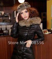 FREE SHIPPING 2013 winter luxury large fur collar thickening down coat ladies medium-long jacket outwear fashion coat
