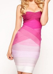 free shipping new green style Strapless bandage dress 2013 yellow pink purple blue black white red nude(China (Mainland))