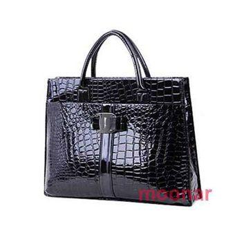 40 Free Shipping,Fashion Crocodile Ggrain Patent Leather Handbag/ Women's Tote Bag#M5