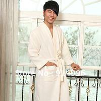 robes for unisex 65% cotton 35% polyester waffle style kimono collar bathrobe