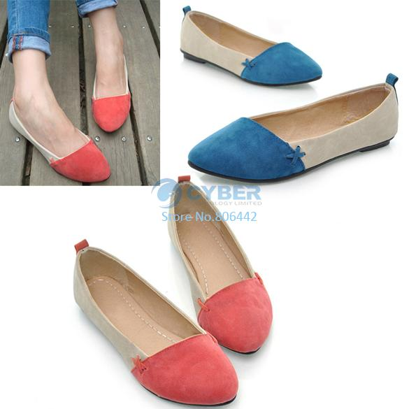 Big Discount!! New Women Girl Casual Comfort Ballet Patchwork Low Heels Flat Loafers Shoes 3 Color 7760(China (Mainland))