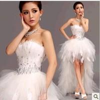 Sexy white bra Lace Wedding Dresses 2014 short Long Train White Bridal Princess Wedding Dress K5829