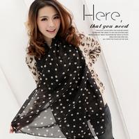 Free Shipping !2014 NEW Style, Classic Polka Dot Scarf  Long Chiffon Scarf  Women's  Korean Version Silk Scarf,S-026