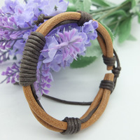 Vintage Style Cow Colour Double layer Weave Wrap Hemp&Genuine leather bracelets Adjustable Size For Men,  Gifts