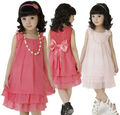 girls chiffon dress with necklace 120-160 girl princess dresses fashion children clothes red/pink/yellow free shipping 5sets/lot
