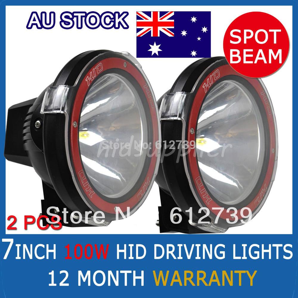 "PAIR 100W  7"" HID XENON DRIVING LIGHTS 7 INCH SPOTLIGHTS OFF ROAD Lights 4X4 12V Big Power Spot Beam(China (Mainland))"