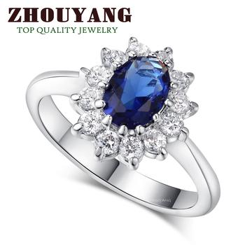 Принцесса кейт BlueGem сапфир 18 К белый позолоченные палец кольцо марка ювелирные изделия австрийские кристаллы для женщин оптовая продажа ZYR076
