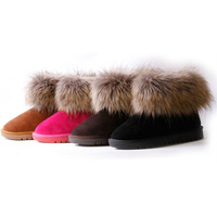 Free Shipping New Arrival 2013 Shoes For Women Genuine Leather good faux Fox Fur Lady Hot Sale Winter Warm Christmas Snow Boots