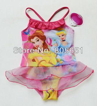 Free shipping Girls Fairy Princess  Swimwear  Dora Tankini Beachwear Swimsuit Tutu Dress 2-8Y Bathing