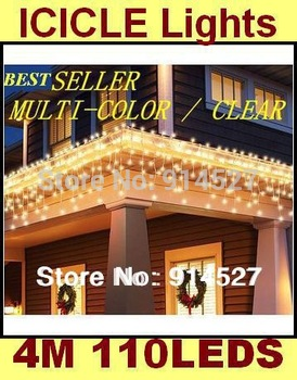 Good Quality Outdoor 110 LED 4M Icicle Lights Garland Christmas Holiday Wedding Party New Year's Decorations Garden RGB Lighting