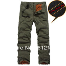 Winter Double Layer Men's Cargo Pants Warm Outdoor Sports Pants Baggy Pants Cotton Trousers For Men Color Dark Army Green Black(China (Mainland))