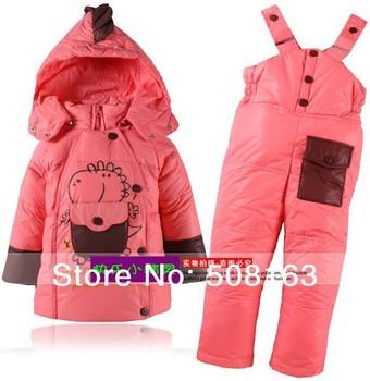 RETAIL little children warm coat jacket+jumpsuit pant trouse kid winter suit set clothing 1-3 year infant wear toddler snowsuit