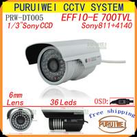 """100% Original 1/3""""sony effio-e 700tvl 36LED IR 25M with OSD Menu color Night Vision Indoor/Outdoor CCTV Camera Free Shipping"""
