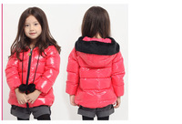 New Freeshipping winter red black pink green orange Children girls Kids baby  hoody hooded down jacket feather jacket  PEDS11P26
