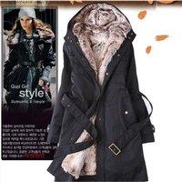 New 2014 fashion autumn winter ruffle collar slim belt women's outerwear thick warm hoodies coat long design  free shipping