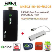 Rikomagic MK802 IIIS Mini PC,Mobile Remote Control RK3066Cortex A9 1GB RAM 4G ROM HDMI TF Card & USB HUB+USB LAN  [S4+RK308]