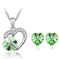 Loved Heart Jewelry Set Genuine SWA Element Austrian Crystal Necklace/Earring Set Crystal Jewelry 9 Colors Options ST-HQS0028