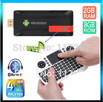 [External wifi antenna] RK3188 quad core Cortex A9 Mini pc Android 4.4.2 TV Stick 2G RAM 8G Android MK809IV + Rii i8 air mouse
