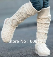 winter over the knee snow boots 2014 fashion women high-leg boots lady brand wool yarn knitted boots in beige/black/coffee/gray