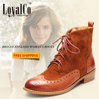 2013 New Women's Spring Autumn Winter Genuine Leather Boots Vintage Fashion Martin Boots Thick Heel Mona Coffee Ankle Boots