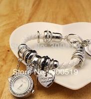 JW012 Ladies Fashion Korea Style Genuine Leather Bracelet Heart Multi Pendant  Bracelet Watch Women Dress Watch