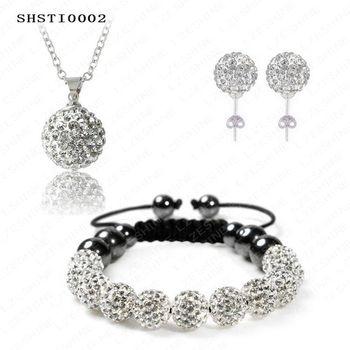 Fashion Crystal Shamballa Set Crystal Pendant/Bracelet/Crystal Earring Jewelry Set With Disco Balls SHSTImix1