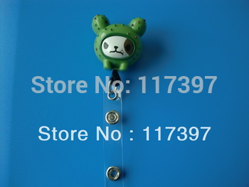 Free Shippping Wholesales Plastic ID Badge Holder with PVC Strap Cactus Retractable ID Reel 10 pcs/lot