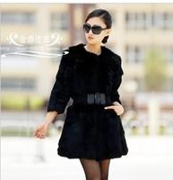 Free shipping Fur coat  leather cape hare wool medium-long outerwear female parka Natura fur coats women parka