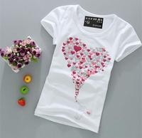 [Wholesale] Free shipping New summer  Clothing Short sleeve Women T-shirt White Shirt Lovely Print tops tees T-shirts B091-B092