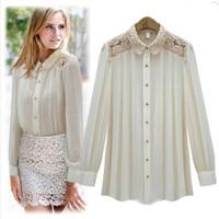 New 2015 Casual Shirt Women Blusa Feminina Lace Shoulder  Long Sleeve Chiffon Blouses Elegant High Quality Brand Designer Tops