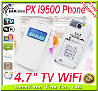 HOT PX i9500 S4 9500 TV WIFI phone 4.7 inch Dual SIM Card with Russian Polish Spanish Portuguese language gift Made in PX phone