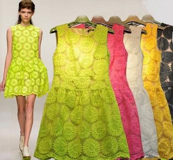 S-XL!!  EU 2014 summer London fashion week Women Print Flower embroidery lace dress/Candy color,flower chiffon party dress
