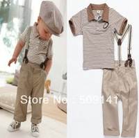 1set Retail, Baby Boys (Shirt+Suspender+Trousers ) 3pcs Suit, Baby Boys Summer Set ,Fashion Suit (IN STOCK), Free Shipping