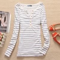 Free Shipping 100% cotton T shirts Navy Blue Striped long-sleeve t-shirt fashion women tops