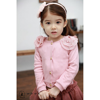 2014 New Hot  Sale all-match the spring and autumn kids' clothing long-sleeved 3 color girls sweater coat knitwear