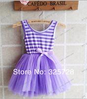 wholesale 2013 new arrival,girls rainbow dresses,girls tutu dresses,baby Stripe bowknot dresses,girls lace dress,4pcs/lot TZ0037